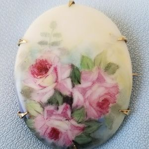 Jewelry - Victorian Hand Painted Porcelain Brooch Large Pin